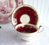 Cup And Saucer Aynsley Red White Gold Overlay 1950s Bone China