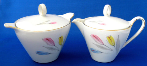 Cream And Sugar Retro Tulips Mid Century Modern Bareuther Bavaria Modern Floral 1950s