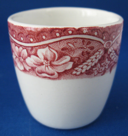 Eggcup Old Castle Red Transferware Barratts Single Hoop 1950s