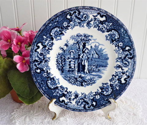 Blue Transferware Playtime Plate Barratts England Dessert Pie 1950s Ironstone