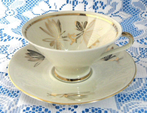 Retro Bavarian Martini Glass Shape Cup And Saucer Gold Overlay Leaves 1950s