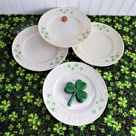 Shamrock Irish Belleek Plates 4 Side Plates Basket Weave 1950s 4th Green Mark