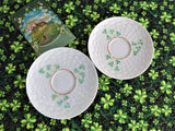 Pair Saucers Irish Belleek Shamrock 1950s Basket Weave 4th Green Mark