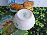 Irish Belleek Shamrock Sugar Bowl 1950s Basket Weave 4th Green Mark