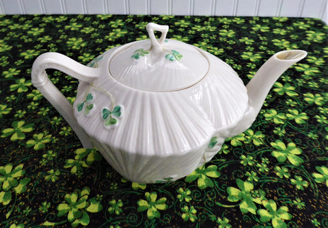 Teapot Irish Belleek Shamrock Harp Tea Pot 1946-1955 Seashell 4nd Green Mark
