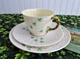 Irish Belleek Teacup Trio Basket Weave With Shamrocks 1950s 4th Green Mark