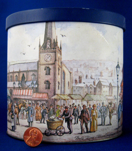 Tea Tin Caddy Blue Bird Toffee Oval Bull Ring Birmingham 1950s