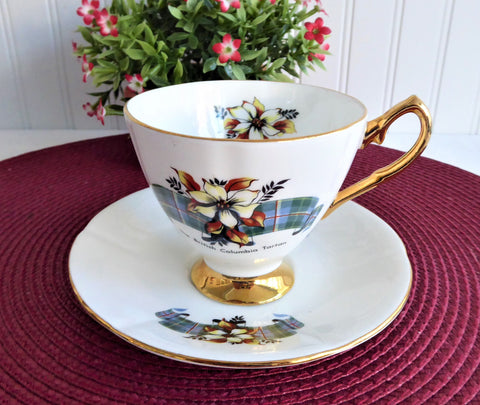 Cup And Saucer British Columbia Tartan 1950s Canadian Souvenir Bone China