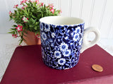 Vintage Blue Calico Ceramic Mug Royal Crownford England Blue Chintz 1950s