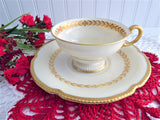 Cup And Saucer Castleton USA Aria Gold Laurel Wreath Burnished Gold Trim