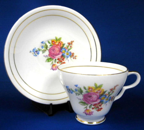 Floral Bouquet Cup And Saucer English Bone China Clare 1950s Pretty Floral
