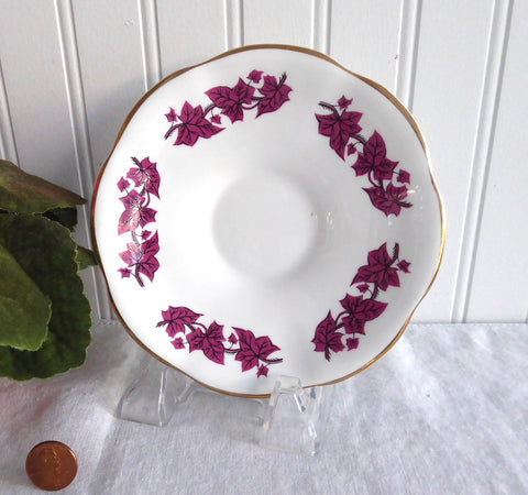 Purple Ivy Leaves Saucer Only 1950s English Bone China Clare England