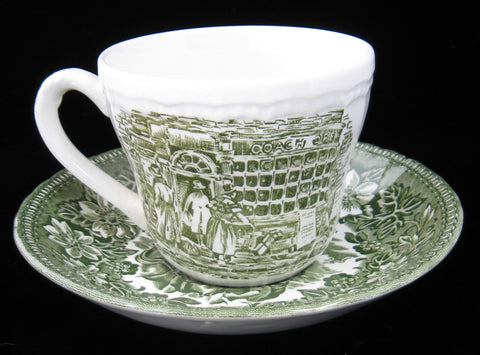 Cup And Saucer Green Transferware Coaching Taverns 1950s England Royal Tudor Ironstone