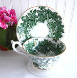Maple Time Chintz Cup And Saucer Coalport Bone China Green Leaves 1949-1960