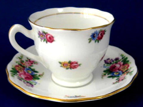 Cup and Saucer Colclough Rosebuds Floral Sprays Demitasse 1950s