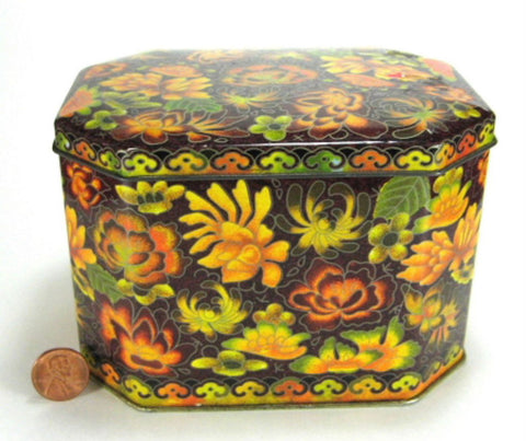 Vintage English Tea Tin Brown Gold Floral Fall Chintz Daher Emerald Shape