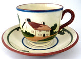 Mottoware Large Cup and Saucer Where Friends There Riches Dartmouth Torquay 1950s