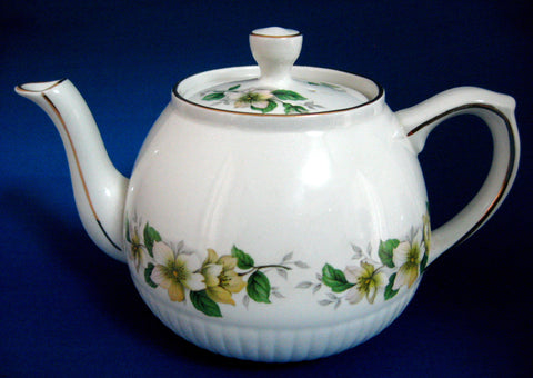 Vintage English Tea Pot Teapot Ellgreave Apple Blossoms 1950s Woods