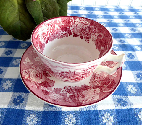 Red Transferware Tea Cup And Saucer English Scenery 1940s Woods Rural Landscape