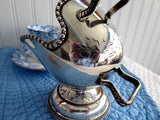 Sugar Scuttle Silver Sugar Bowl Floral Hand Engraved 1920s Sugar Bowl