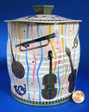 Tea Tin Pink Musical Instruments Stripes Retro England 1940s Biscuits Cookies