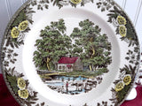 Royal China USA Fair Oaks Dinner Plate Go With Friendly Village 1950-1960s Brown Transferware