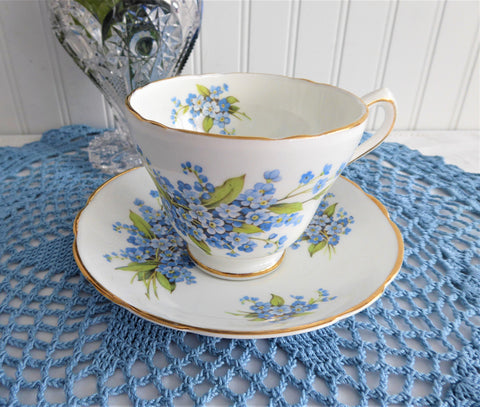 Forget-Me-Not Cup And Saucer Regency Vintage English Bone China 1950s