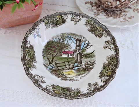 Johnson Brothers Friendly Village Sauce Bowl Coupe Stone Wall English Teabag Caddy Coaster 1950s