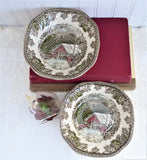 Johnson Brothers Friendly Village Square Cereal Bowls Pair Soup Covered Bridge English 1950s