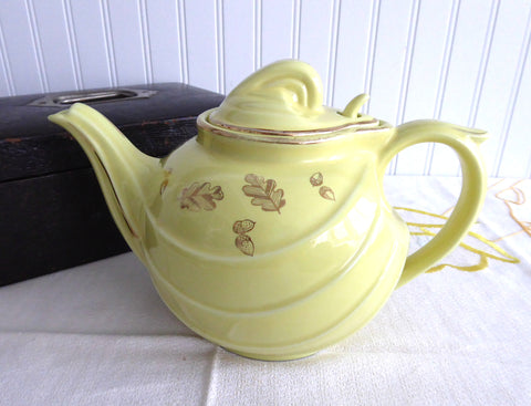 Retro Hall Teapot Canary Gold Label Parade Hook Yellow With Gold Oak Leaves 1950s