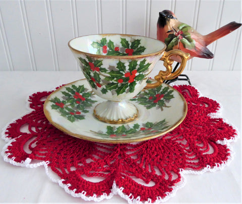 Holly Cup And Saucer Japanese Luster December 1950s Norcrest Vintage Christmas
