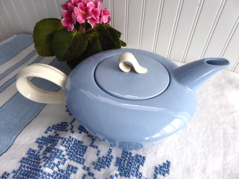 Large Teapot Homer Laughlin Jubilee Skytone Streamlined Blue And White Retro 1950s