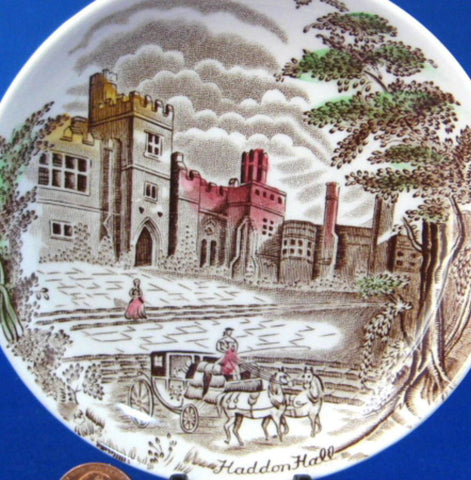 Haddon Hall Transferware Dish Coaster Teabag Caddy Johnson Brothers England 1940-1950s