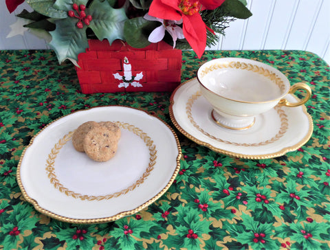 Elegant Teacup Trio Laurel Gold Laurel Wreath Gold Beading Castleton USA 1940s