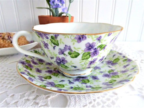 Violets Chintz Cup And Saucer Lefton 1950s Sweet Violets Purple Violets