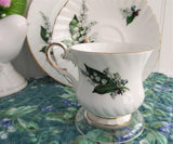 Lily Of The Valley Teacup Trio Elizabethan 1950s Bone China Spring Floral