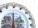 limoges France Paris Souvenir Plate 10 Inch Landmarks Eiffel Tower Arch 1950s
