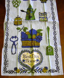 Tea Towel Retro Bless This House Colonial Kitchen Items 1950s Luther Travis Dish Towel
