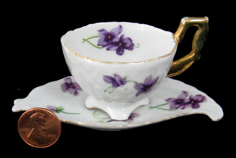 Miniature Cup And Saucer Violets Leaf Shape Saucer 1950s Mini Teacup Norcrest