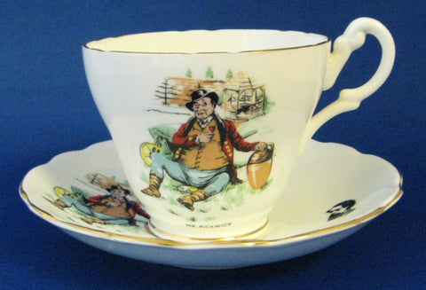 Mr Pickwick Cup And Saucer English Bone China Dickens 1950s