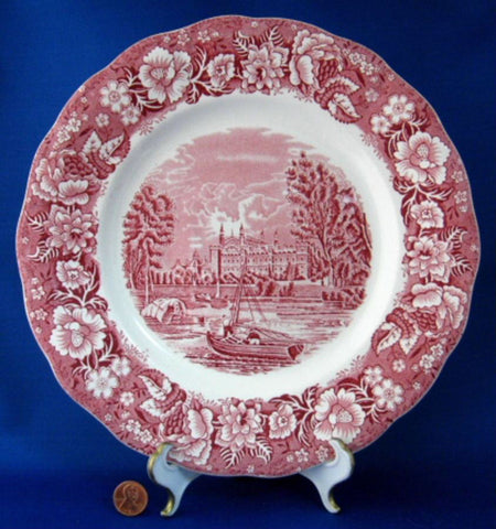 Red Transferware Dinner Plate Palissy Thames River Scenes Eton College 1950s