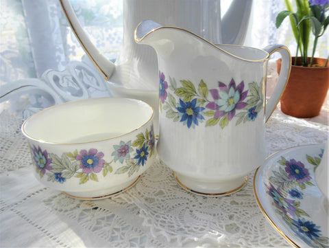 Paragon Cherwell Cream And Sugar Set England Retro Jug Lavender Green 1950s