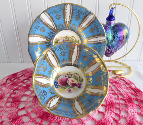 Fancy Cup And Saucer Paragon French Blue Gold Fruit Queen Elizabeth Warrant 1960s
