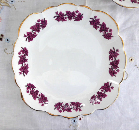 Cake Serving Plate Purple Leaves Clare England 1950s Sandwich Bone China