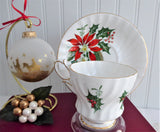 Christmas Noel Cup And Saucer Queen Anne Poinsettia Pine Holly 1950s