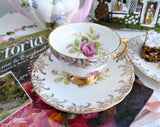 Pink Roses Gold Teacup Trio Cup And Saucer With Plate Rosina 1950s Gold Overlay