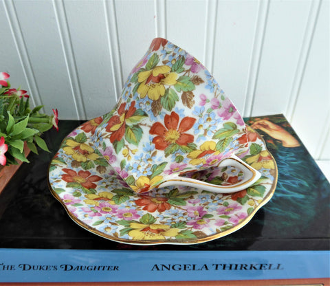 Spring Blossom Chintz Cup And Saucer Rosina 1950s Coral Yellow Blue
