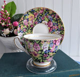 Black Floral Chintz Cup And Saucer Rosina 1950s Flowers On Black English Bone China