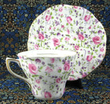Rose And Violet Chintz Cup And Saucer Rosina 1950s Pink Purple