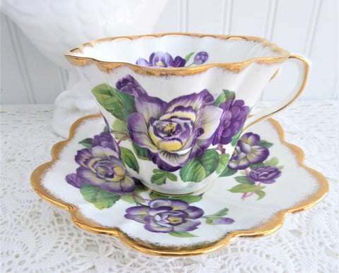Elegant Purple Rosina Peonies Roses Cup And Saucer 1950s Fancy Shape Brush Gold